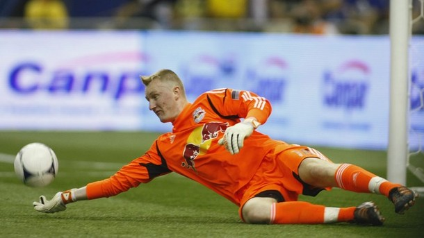 New York Red Bulls' goalkeeper Meara makes save against Montreal Impact during the second half of their MLS soccer match in Montreal
